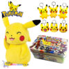 Pokémon Mini Tin + Pikachu Pluche Knuffel 20 cm + Pikachu Sleutelhanger + 3 Pokémon Stickers!