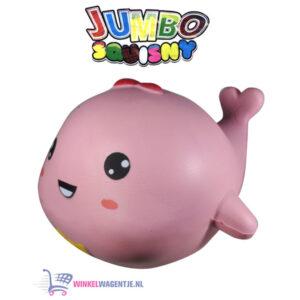 JUMBO Squishy Roze Walvis 15 cm