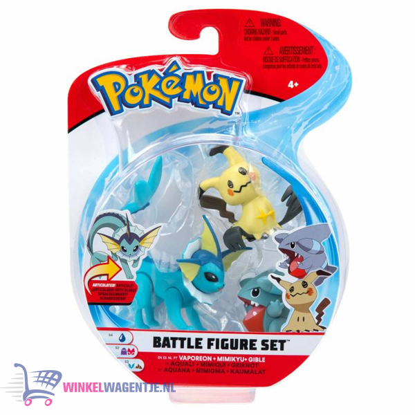 Pokémon Battle Figure Set: Vaporeon + Mimikyu + Gible (Speelfiguren)