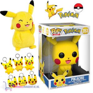 Funko POP! Pikachu Pokémon XL #353 + Pikachu Pluche Knuffel 20 cm + Pikachu Sleutelhanger + 2 Pokémon Stickers!