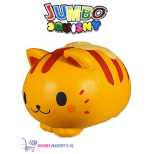 JUMBO Squishy Oranje/Rode Kat 15 cm