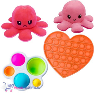 Pop It Fidget Toy (Hart Oranje)+ Simple Dimple + Octopus Mood Knuffel (Roze)