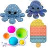 Pop It Fidget Toy IJsje + Simple Dimple + Octopus Mood Knuffel (Blauw Shiny)