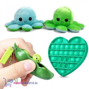 Pop It Fidget Toy Hart (Glow In The Dark) + Bean Popper + Octopus Mood Knuffel (Blauw/Groen)