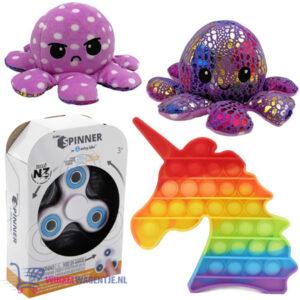 Pop It Fidget Toy Hart (Unicorn) + Luxe Fidget Spinner + Octopus Mood Knuffel (Paars Shiny)