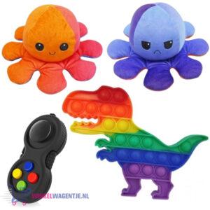 Pop It Fidget Toy Hart (Dinosaurus) + Fidget Pad + Octopus Mood Knuffel (Oranje/Paars/Blauw)