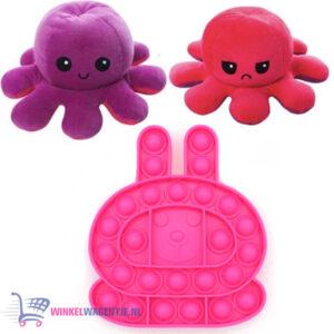 Pop It Fidget Toy (Roze Konijn) + Octopus Mood Knuffel (Paars/Rood)