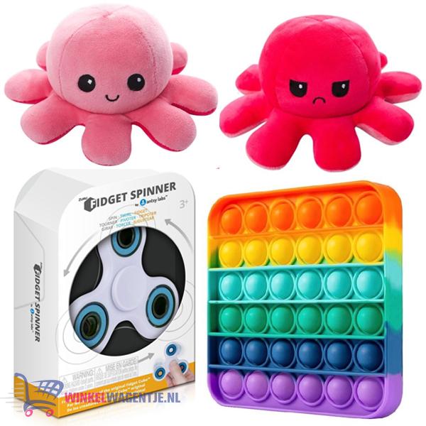 Pop It Fidget Toy Vierkant (Regenboog) + Luxe Fidget Spinner + Octopus Mood Knuffel (Roze)