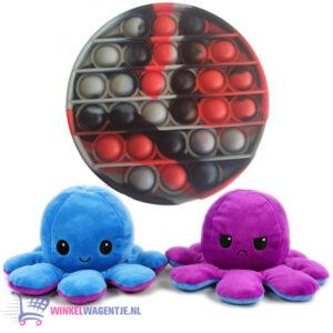 Pop It Fidget Toy (Zwart/Rood/Grijs) + Octopus Mood Knuffel (Paars/Blauw)