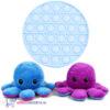Pop It Fidget Toy Rond (Lichtblauw) + Octopus Mood Knuffel (Paars/Blauw)