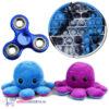 Pop It Fidget Toy Rond (Blauw/Zwart/Grijs) + Chrome Fidget Spinner + Octopus Mood Knuffel (Paars/Blauw)