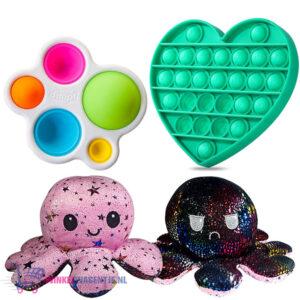 Pop It Fidget Toy Hart (Glow In The Dark) + Simple Dimple + Octopus Mood Knuffel (Roze/Zwart)