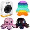 Pop It Fidget Toy Pinguïn + Luxe Chrome Fidget + Octopus Mood Knuffel (Roze/Zwart)