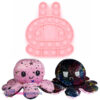 Pop It Fidget Toy (Licht Roze Konijn) + Octopus Mood Knuffel (Roze/Zwart)