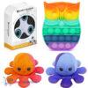 Pop It Fidget Toy Uil (Regenboog) + Luxe Fidget Spinner + Octopus Mood Knuffel (Oranje/Blauw)