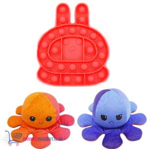 Pop It Fidget Toy (Konijn Rood) + Octopus Mood Knuffel (Oranje/Blauw)