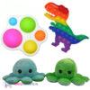 Regenboog Pop It Fidget Toy + Simple Dimple Toy + Octopus Mood Knuffel (Blauw/Groen)