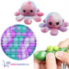 Pop It Fidget Toy (Lichtblauw/Paars/Roze) + Bean Popper + Octopus Mood Knuffel (Watercolor)
