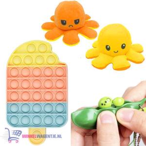 Pop It Fidget Toy IJsje + Bean Popper + Octopus Mood Knuffel (Geel/Oranje)