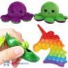 Pop It Fidget Toy (Unicorn)+ Bean Popper + Octopus Mood Knuffel (Paars/Groen)