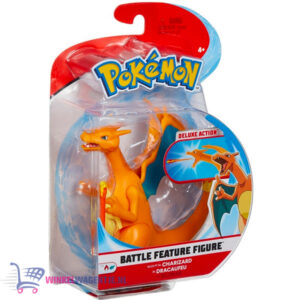 Pokémon Battle Feature Figure Charizard (Deluxe Action) + Pikachu Sleutelhanger + 3 Pokemon Stickers!