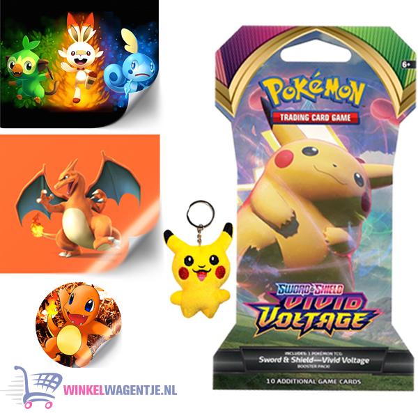 Pokémon Sword & Shield Vivid Voltage Booster Pack + Pikachu Sleutelhanger + 3 Pokémon Stickers!