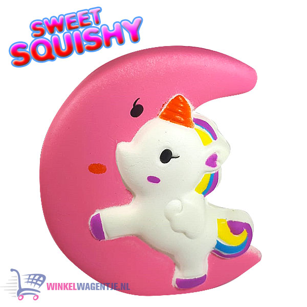 Sweet Squishy Figuurtje Unicorn Roze Maan 10 cm
