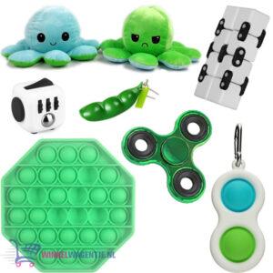 Pop It Fidget (Groen) + Fidget Cube + Infinity Cube + Bean Popper & Simple Dimple + Octopus Mood Knuffel (Blauw/Groen) + Fidget Spinner Groen!