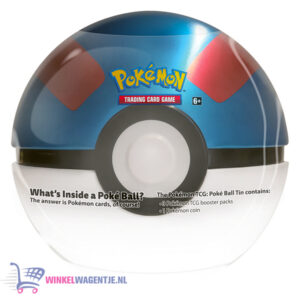 Pokémon Kaarten TCG Poké Ball Tin (Great Ball) + Pokemon Pikachu Sleutelhanger + 5 Pokémon Stickers!