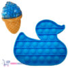 Pop It Fidget Toy Eend (Blauw) + Sweet Squishy IJsje (Blauw) + Hartjes Sticker
