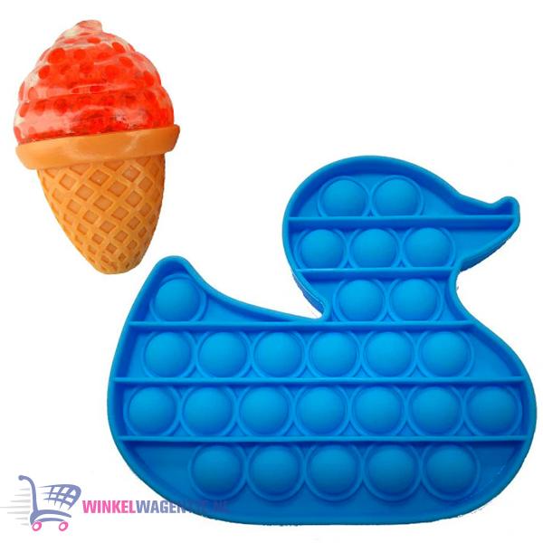 Pop It Fidget Toy Eend (Blauw) + Sweet Squishy IJsje (Rood)