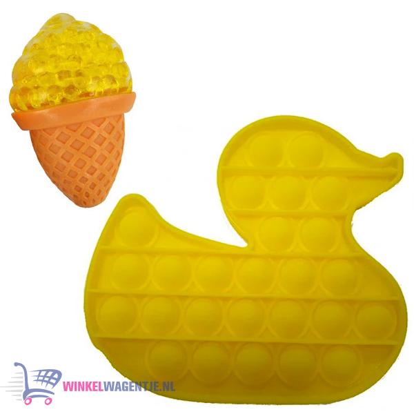 Pop It Fidget Toy Eend (Geel) + Sweet Squishy IJsje (Geel) + Hartjes Sticker