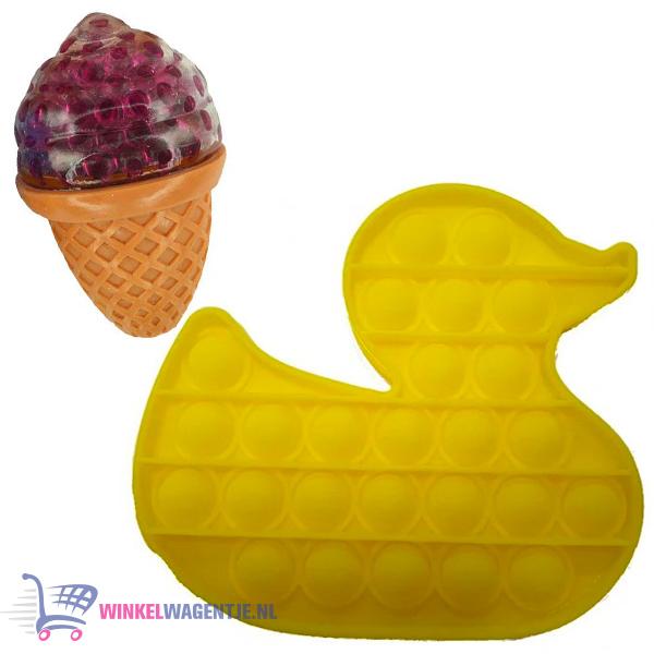 Pop It Fidget Toy Eend (Geel) + Sweet Squishy IJsje (Roze) + Hartjes Sticker