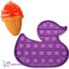 Pop It Fidget Toy Eend (Paars) + Sweet Squishy IJsje (Rood) + Hartjes Sticker