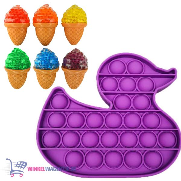 Pop It Fidget Toy Eend (Paars) + Sweet Squishy IJsje (Willekeurige kleur) + Hartjes Sticker
