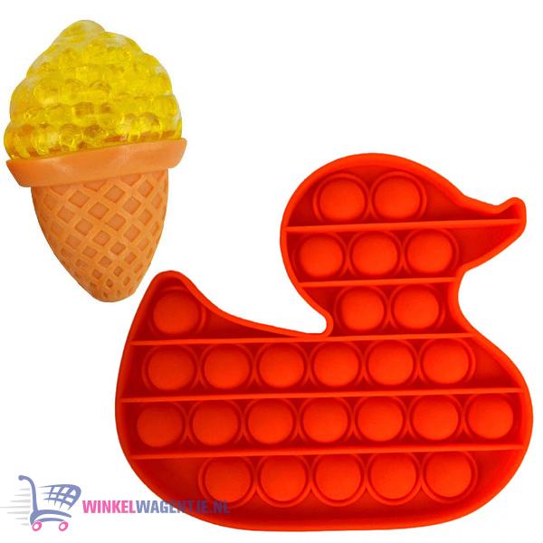 Pop It Fidget Toy Eend (Rood) + Sweet Squishy IJsje (Geel) + Hartjes Sticker