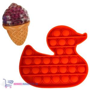 Pop It Fidget Toy Eend (Rood) + Sweet Squishy IJsje (Roze) + Hartjes Sticker
