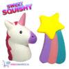 2 st. Sweet Squishy Speelfiguren Witte Eenhoorn + Vallende Ster 10 cm