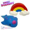 2 st. Sweet Squishy Speelfiguren Blauwe Walvis + Regenboog 10 cm