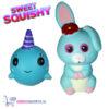 2 st. Sweet Squishy Speelfiguren Baby Walvis + Blauw Konijntje 10 cm