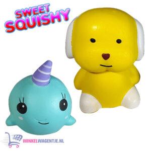 2 st. Sweet Squishy Speelfiguren Baby Walvis + Geel Hondje 10 cm