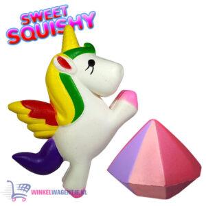 2 st. Sweet Squishy Speelfiguren Eenhoorn + Diamant 10 cm