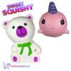 2 st. Sweet Squishy Speelfiguren Wit Beertje + Roze Baby Walvis 10 cm