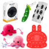 Pop It Fidget Konijn (Rood) + Infinity Cube + Bean Popper + Octopus Mood Knuffel (Roze/Rood) + Luxe Fidget Spinner!
