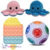 Pop It Fidget Toy IJsje + Rainbow Ball + Octopus Mood Knuffel (Roze/Blauw)