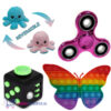 Pop It Fidget Vlinder (Regenboog) + Fidget Cube + Octopus Mood Knuffel (Roze/Blauw) + Chrome Fidget Spinner!