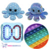 Pop It Regenboog Rond + IQ Ball + Octopus Mood Knuffel (Shiny Blue)