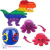 Pop It Fidget Toy Dinosaurus + Puzzle Ball + Octopus Mood Knuffel (Paars/Rood)
