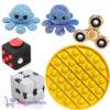Pop It Fidget Rond (Geel) + Fidget Cube + Infinity Cube + Octopus Mood Knuffel (Shiny Blue) + Gouden Fidget Spinner!