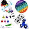 Pop It Fidget Rond (Regenboog) + Fidget Cube + Infinity Cube + Bean Popper & Simple Dimple + Octopus Mood Knuffel (Zwart/Wit Regenboog) + Fidget Spinner Blauw!